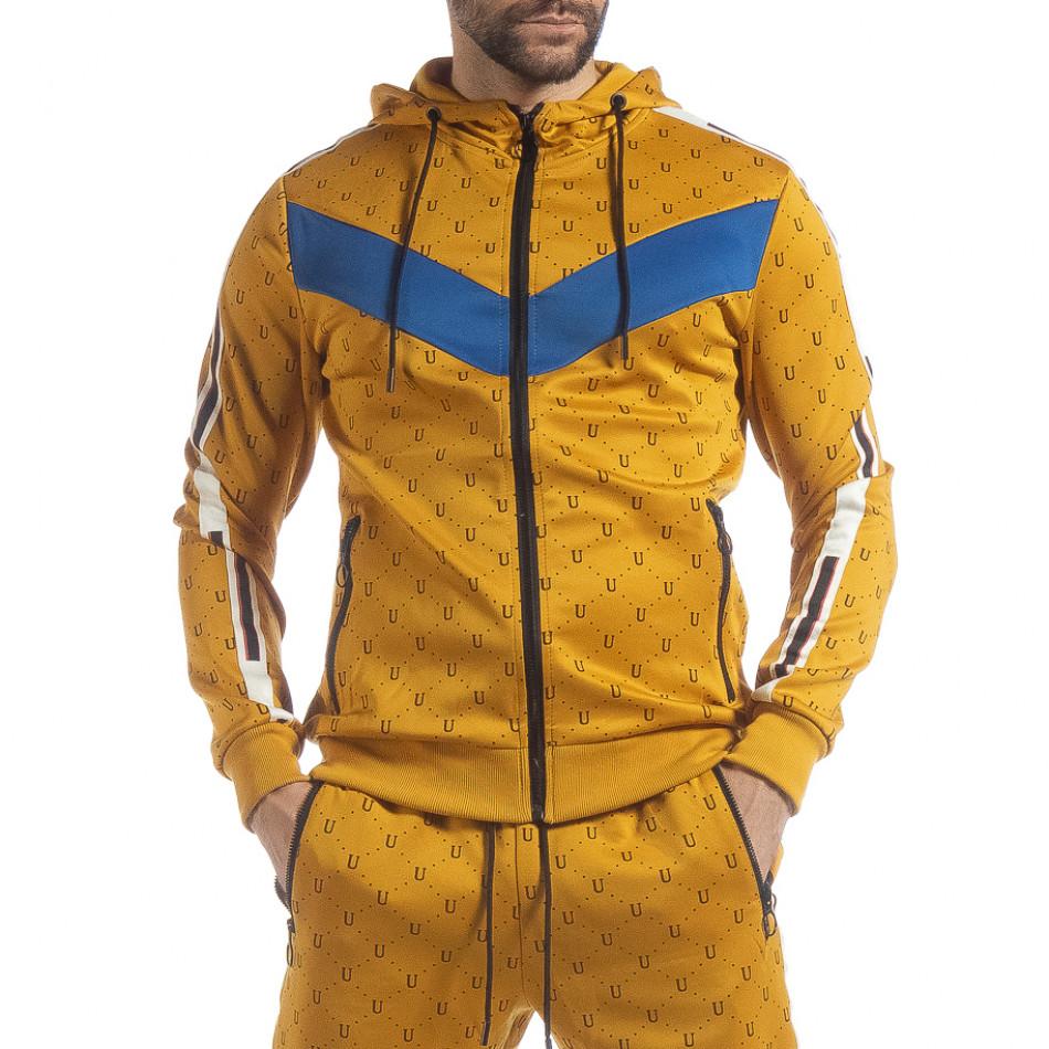 Мъжки жълт суичър с акценти it040219-112