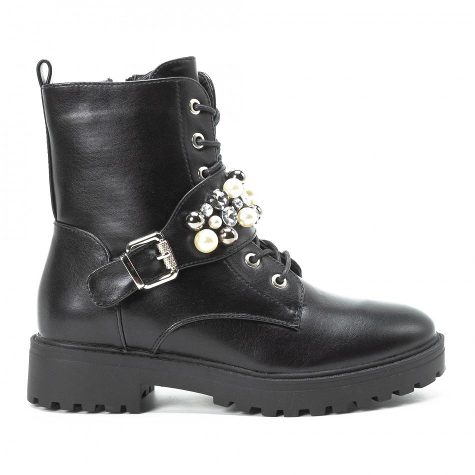 Черни дамски боти с перли и камъни it140918-61