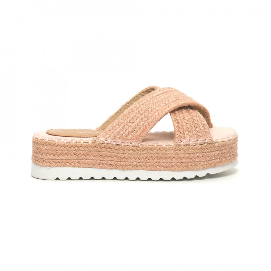Плетени дамски чехли в розово it050619-48