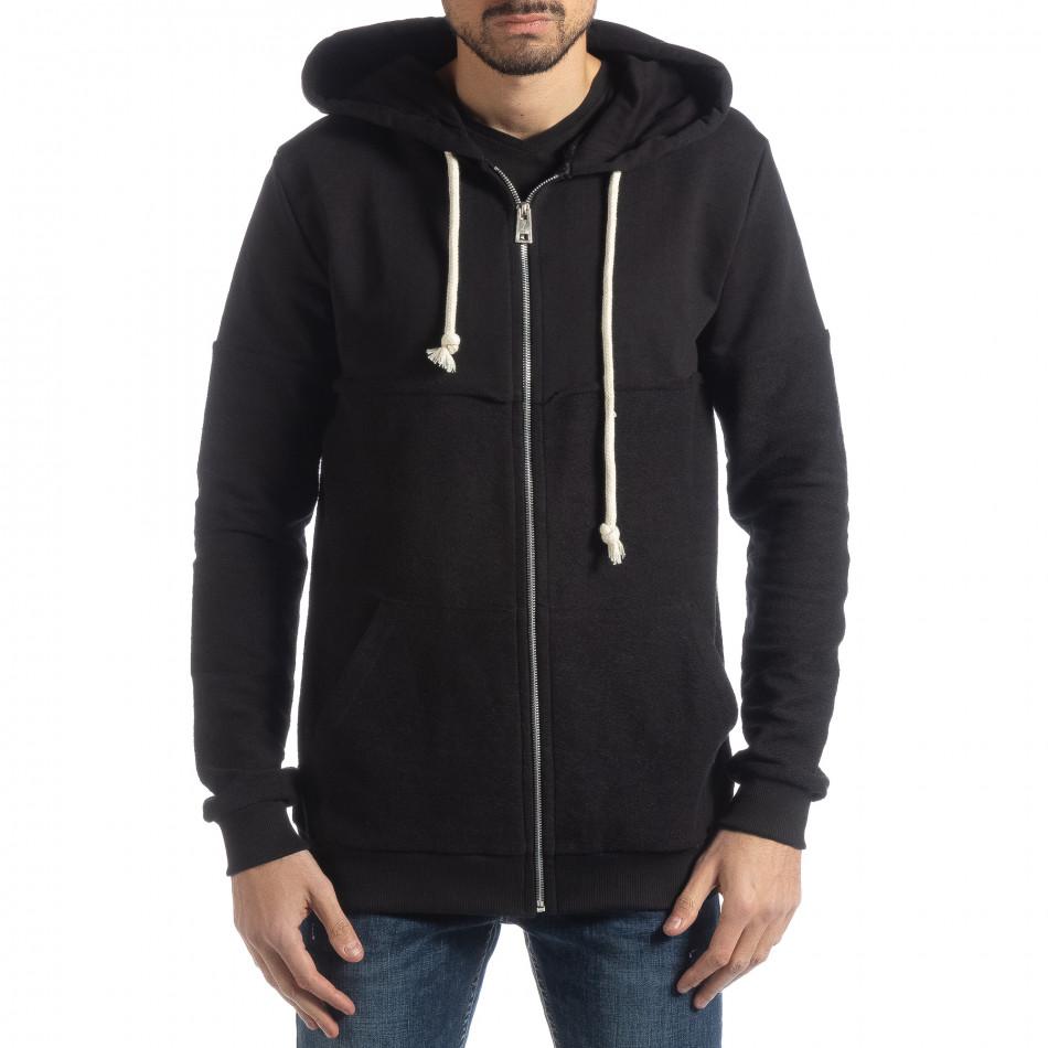 Basic мъжки черен памучен суичър it051218-34