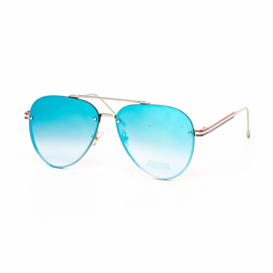 Пилотски очила с плоски стъкла огледално синьо it030519-7