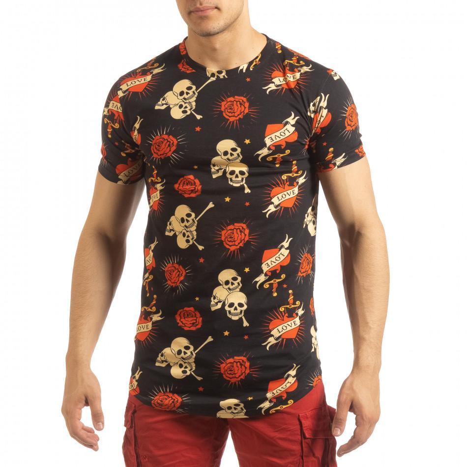 Черна мъжка тениска Skull Love it090519-61