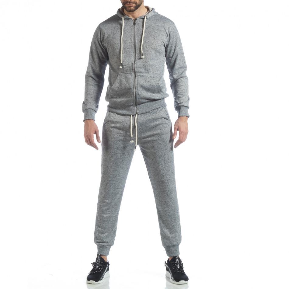 Спортен мъжки комплект в сив меланж ss-M5100-K7360-1