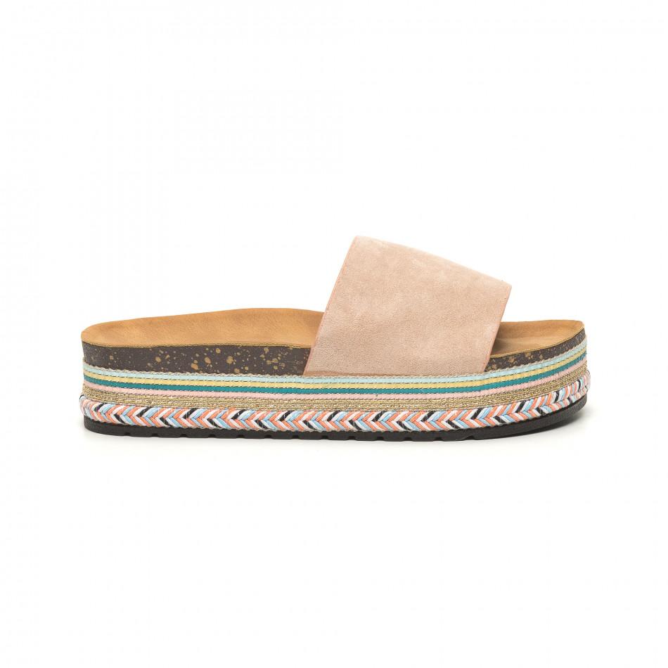 Розови дамски чехли декорирана платформа it050619-58