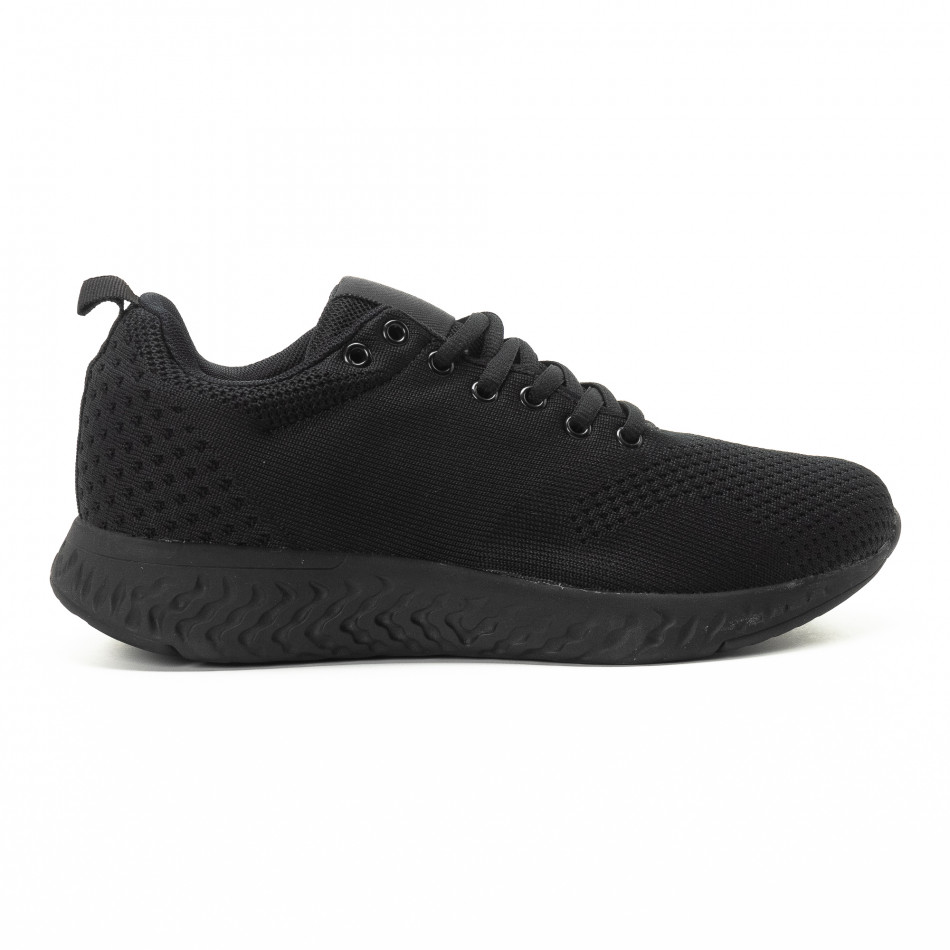 Плетени мъжки черни маратонки  it301118-5