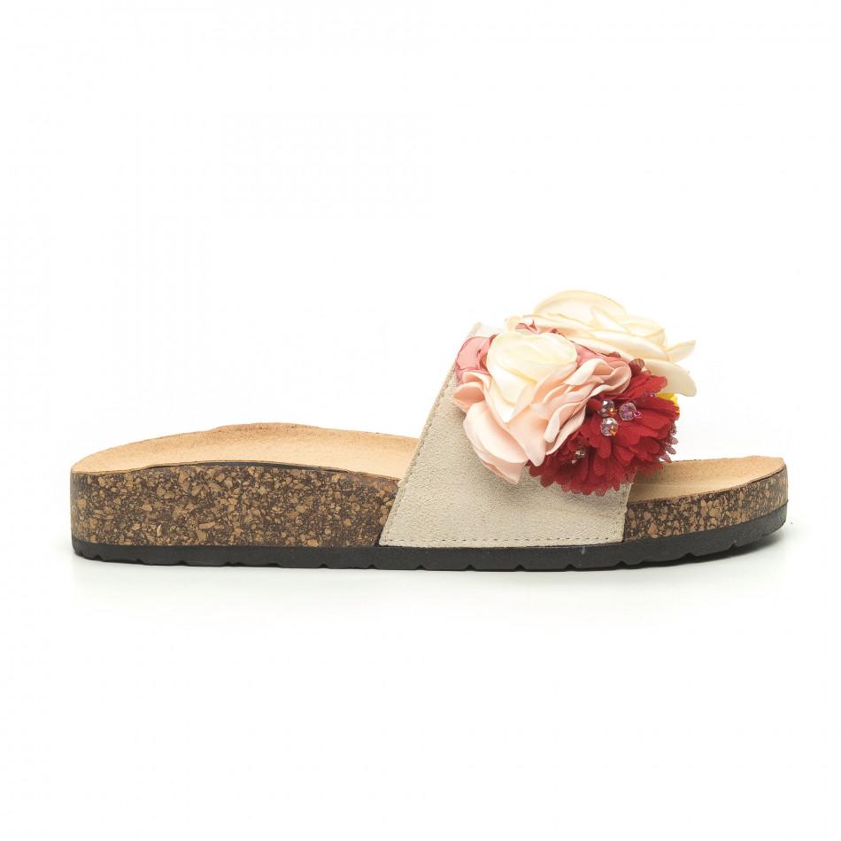 Дамски чехли с флорален дизайн в бежово it050719-4