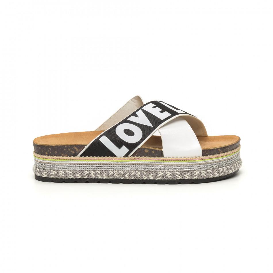 Бели дамски чехли на платформа LOVE it050619-40