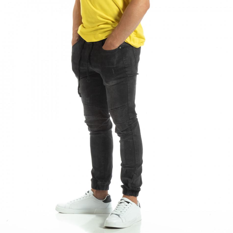 Мъжки черни рокерски дънки тип Jogger it120619-5