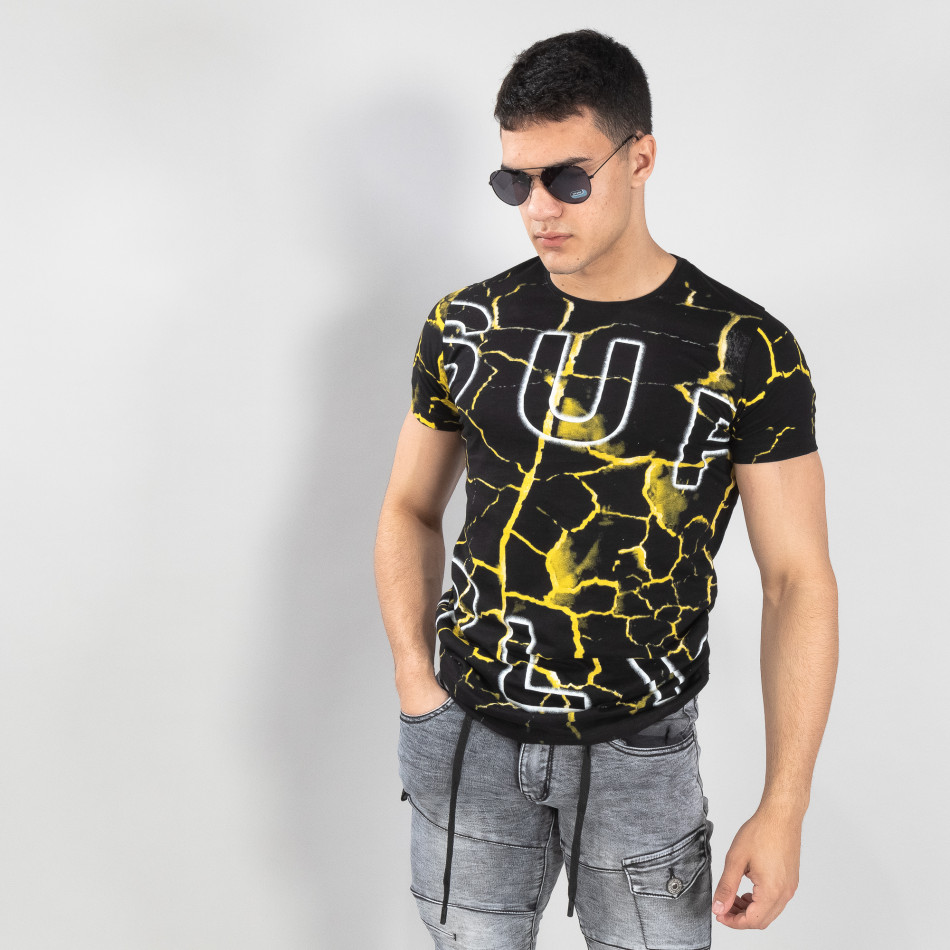 Мъжка тениска Supple в черно и жълто it150419-111
