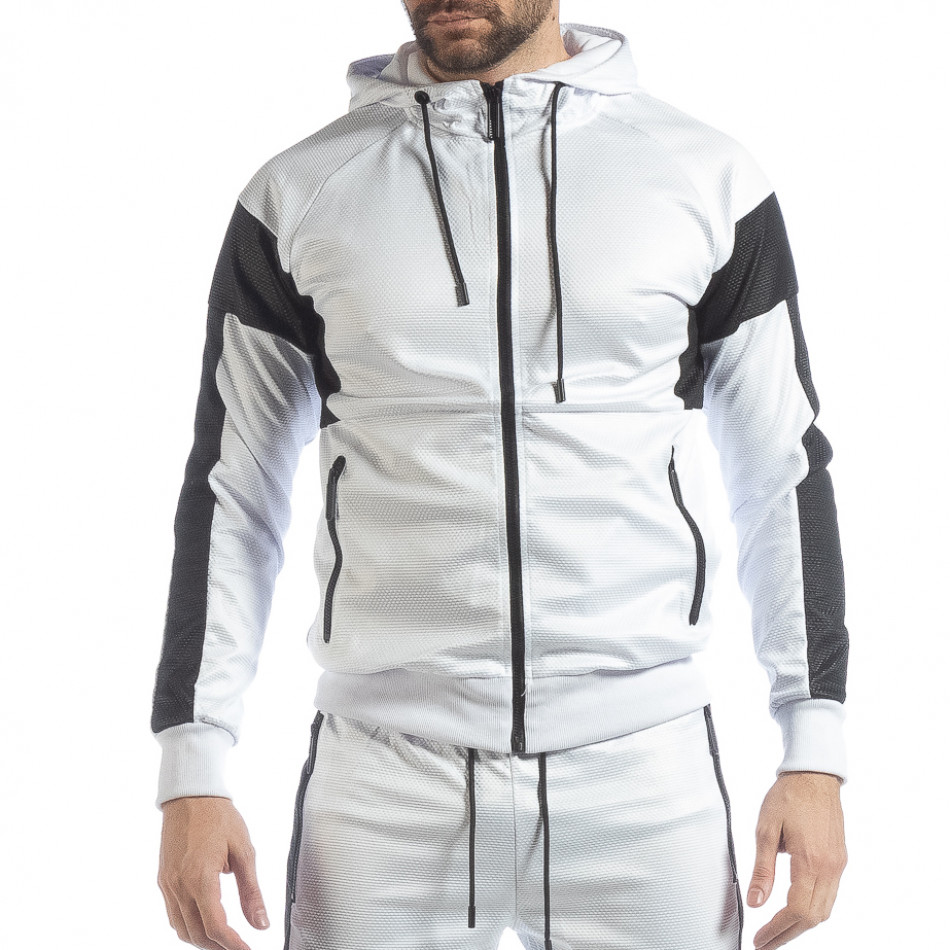 Бял мъжки суичър от ефектна материя it040219-114