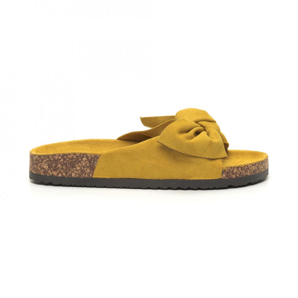 Жълти дамски чехли с панделка it050619-44
