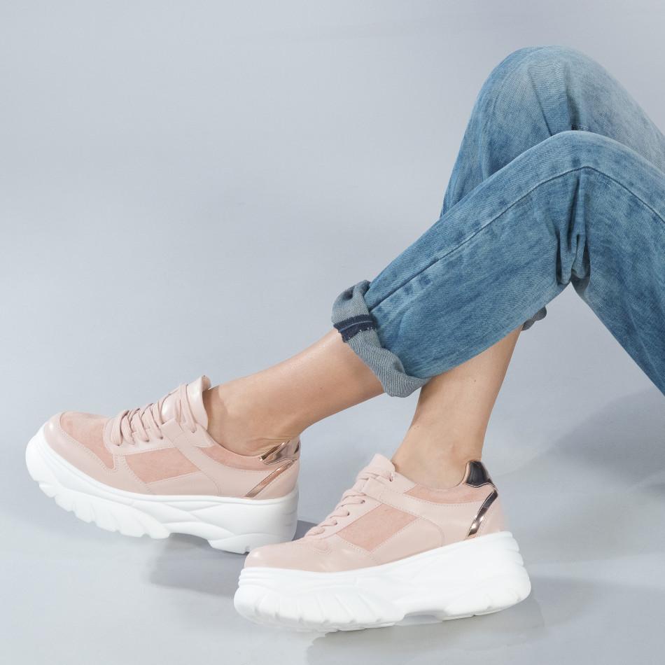 Chunky дамски маратонки в розово на платформа it250119-50