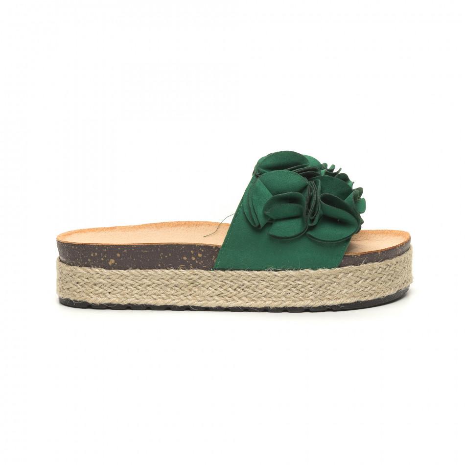 Дамски зелени чехли с конопен кант it050619-24