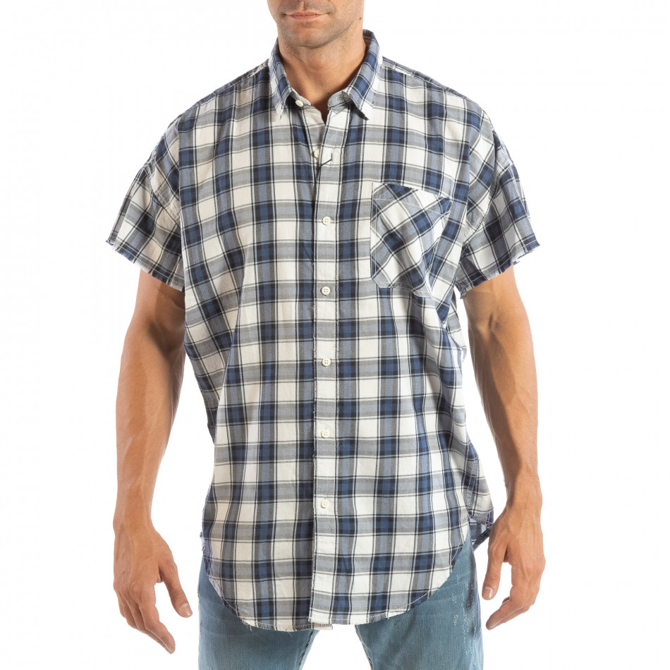 Regular риза с къс ръкав RESERVED синьо каре lp070818-128