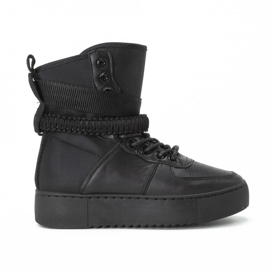Високи дамски кецове All black с аксесоар it150818-62