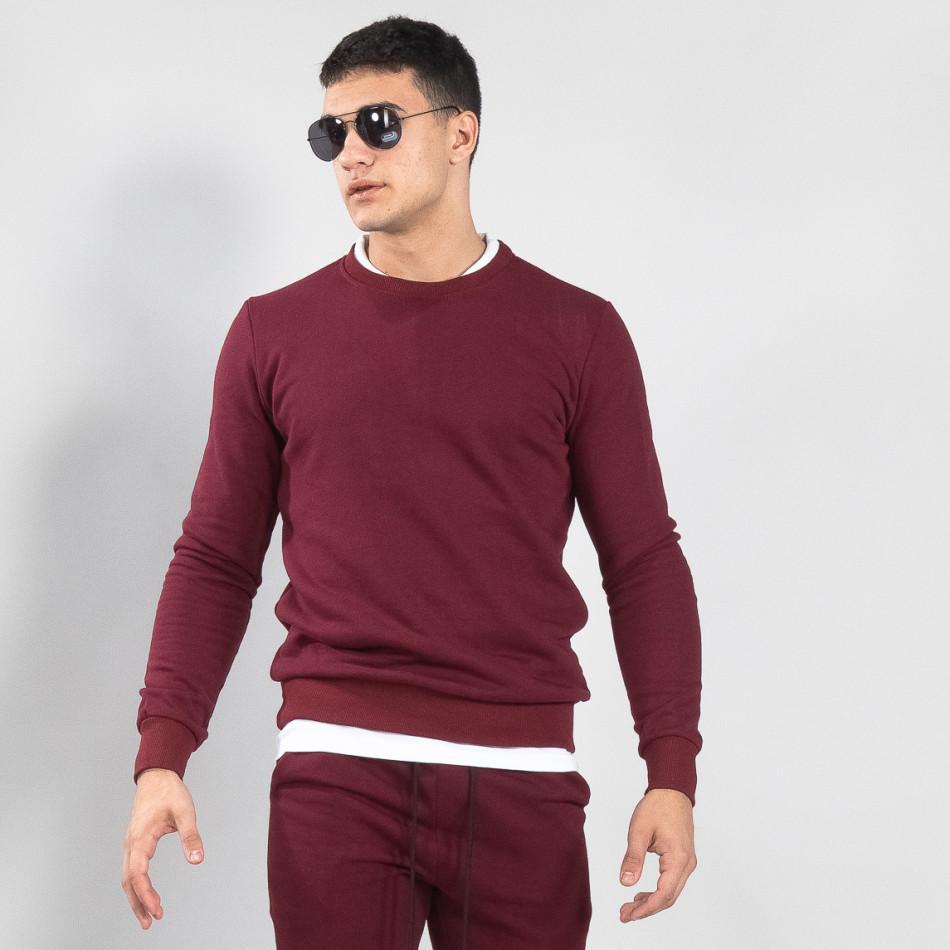 Basic мъжка памучна блуза в тъмно червено it150419-46