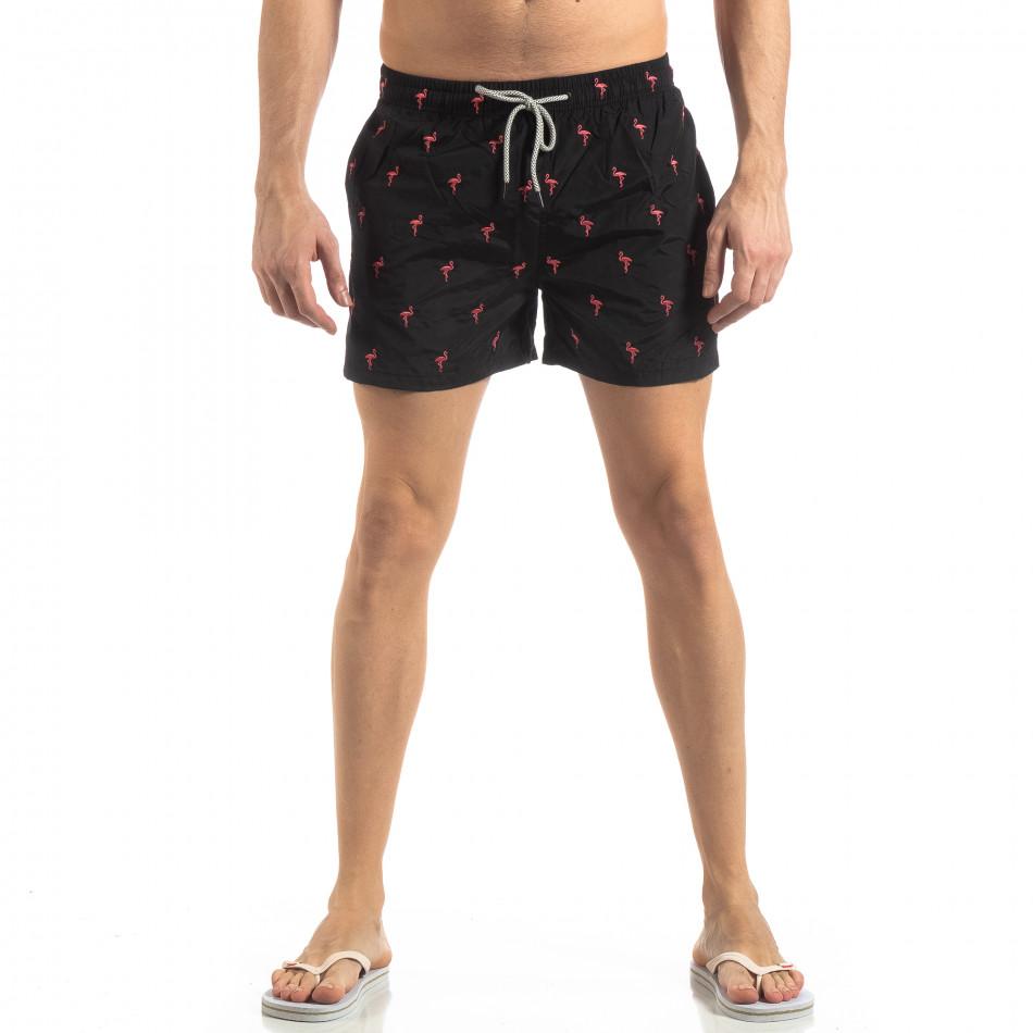 Мъжки черен бански Flamingo мотив it250319-3