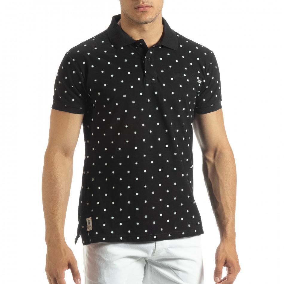 Мъжки черен polo shirt Clover мотив it120619-36