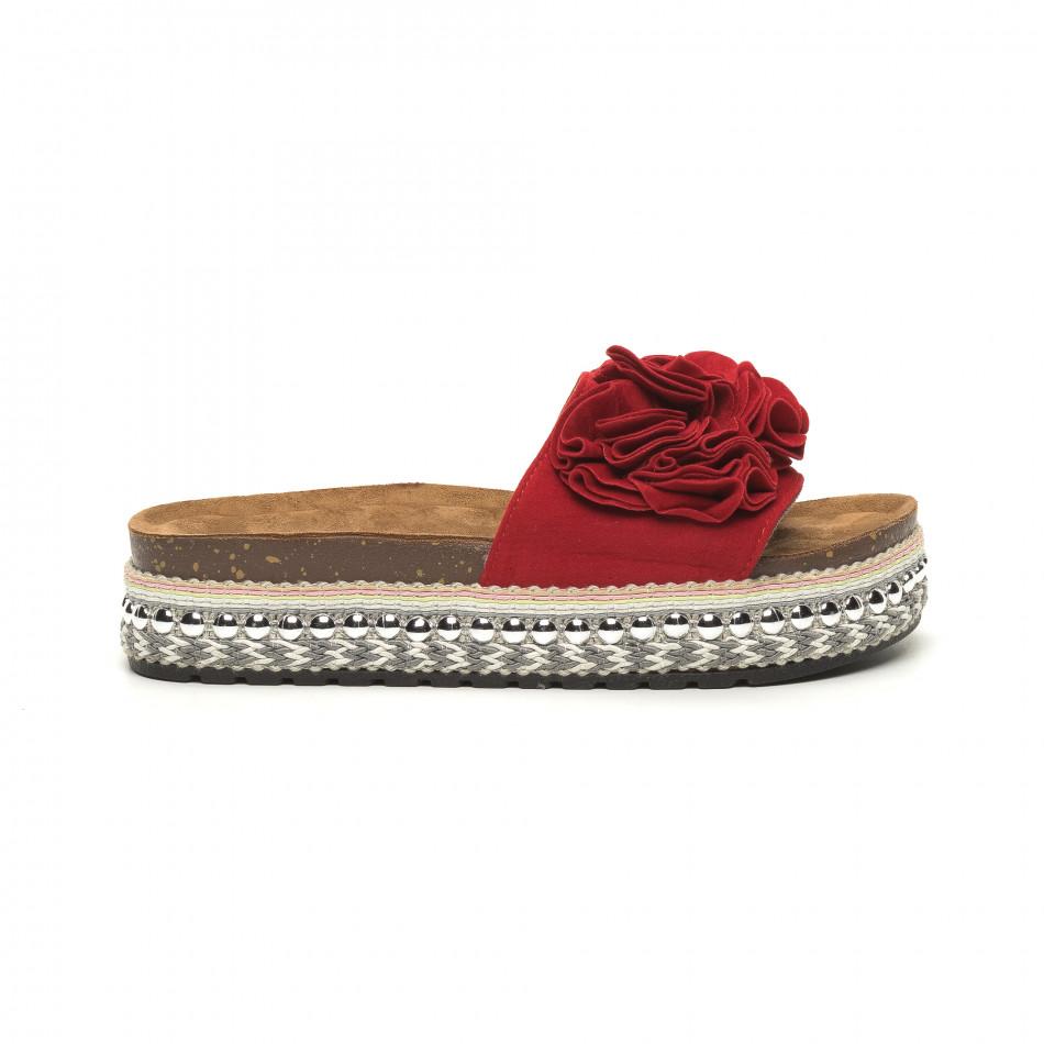 Дамски червени чехли на платформа с декорация it050619-43