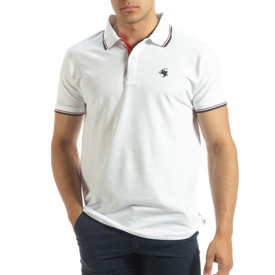 Мъжка тениска polo shirt в бяло it120619-26