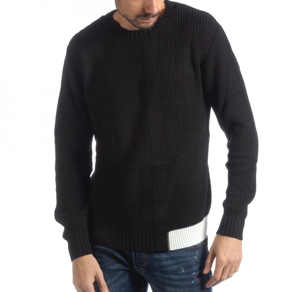 Мъжки черен пуловер с различни плетки it051218-61