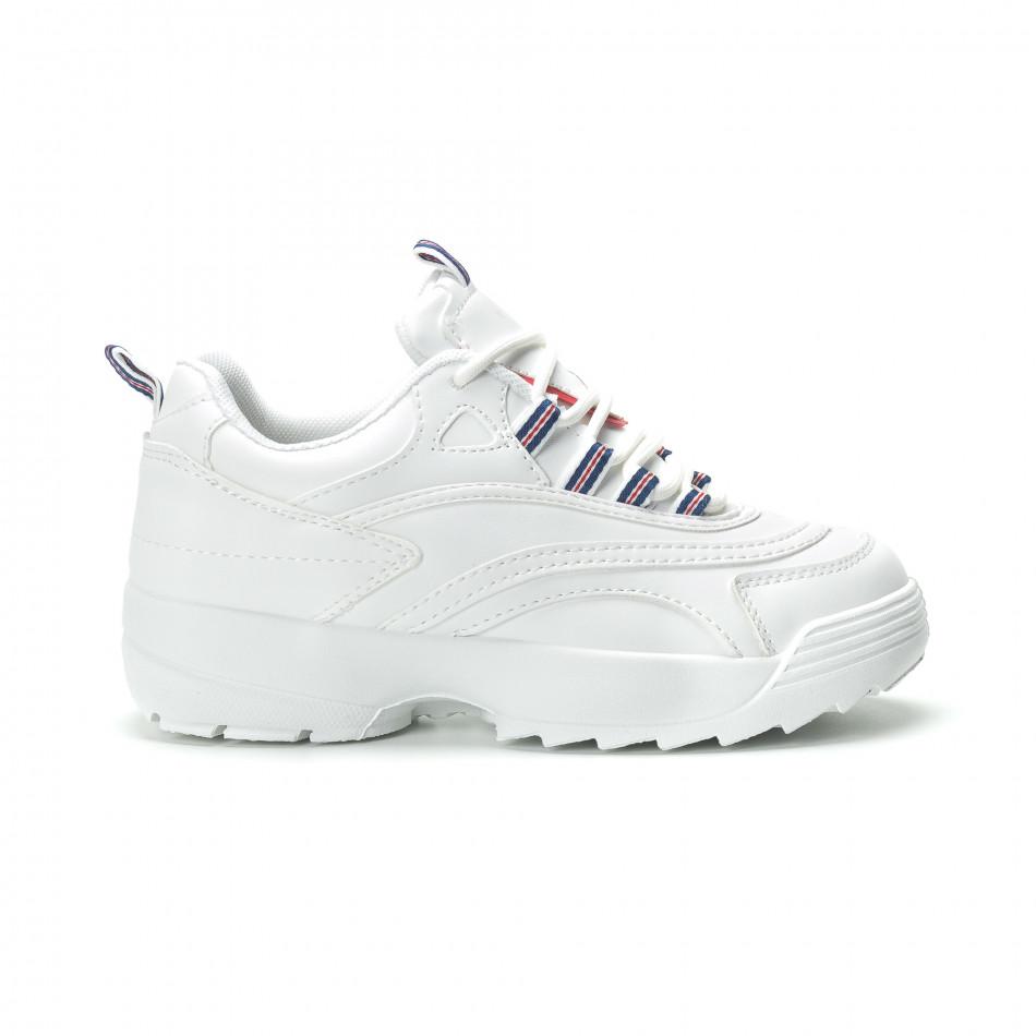 Дамски маратонки в бяло с обемна подметка it250119-87
