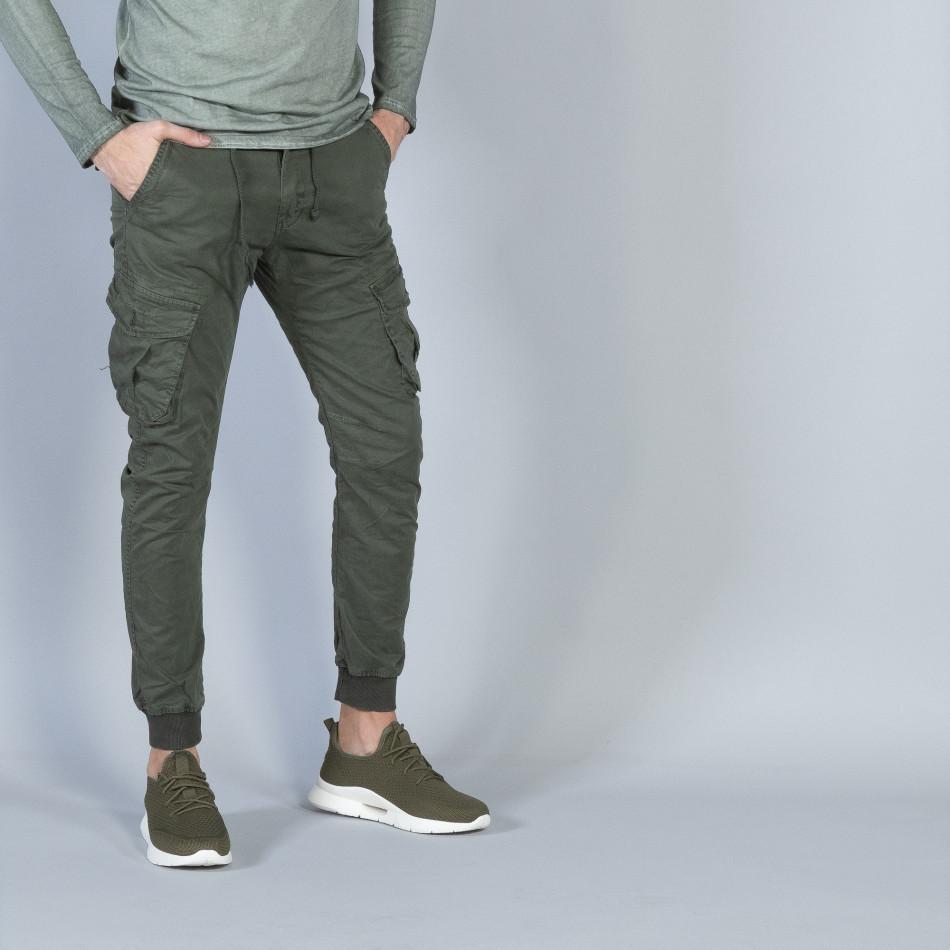 Мъжки Cargo Jogger панталон в милитъри зелено it040219-28
