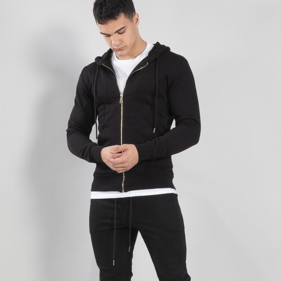 Basic мъжки памучен суичър в черно it150419-40