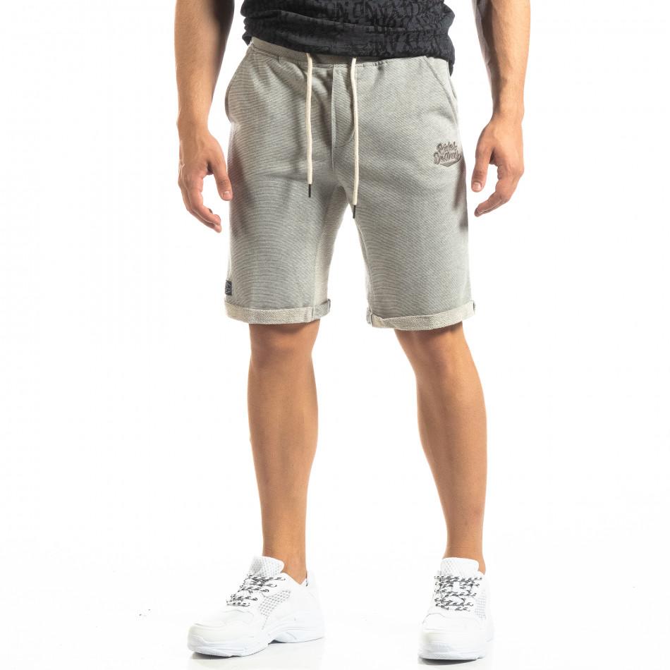 Мъжки сиви шорти на тънко райе it150419-115