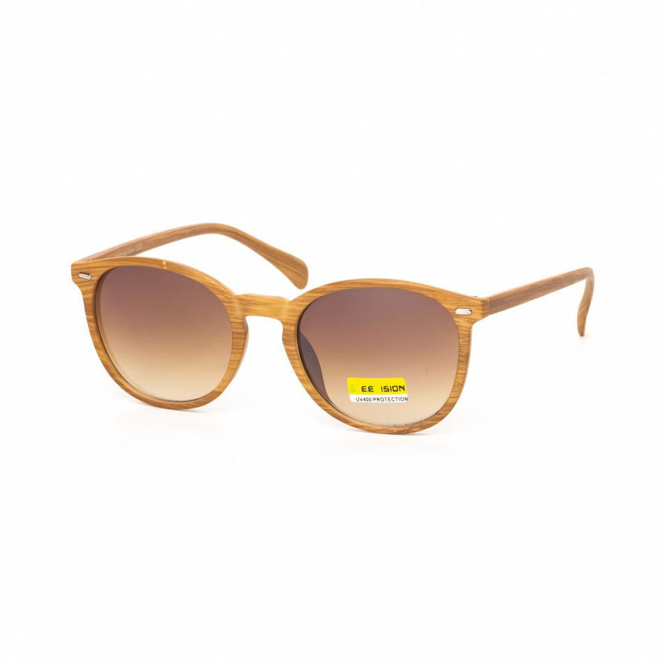 Опушени кафяви очила дървесна рамка натурална it030519-48