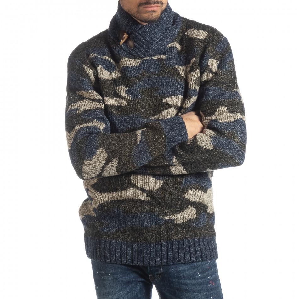 Мъжки пуловер с голяма яка син камуфлаж it051218-51