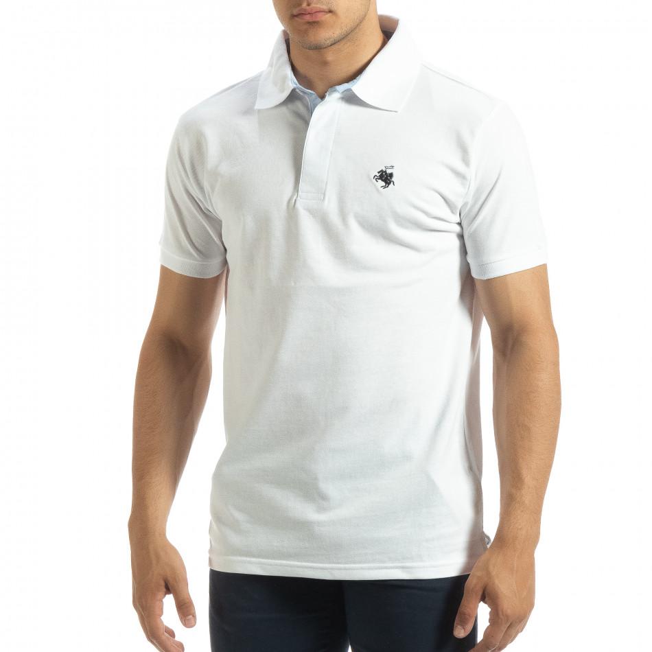 Мъжки бял polo shirt със синьо столче it120619-29