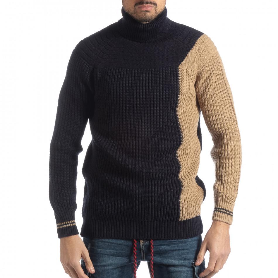 Мъжки пуловер в синьо и бежово it051218-56