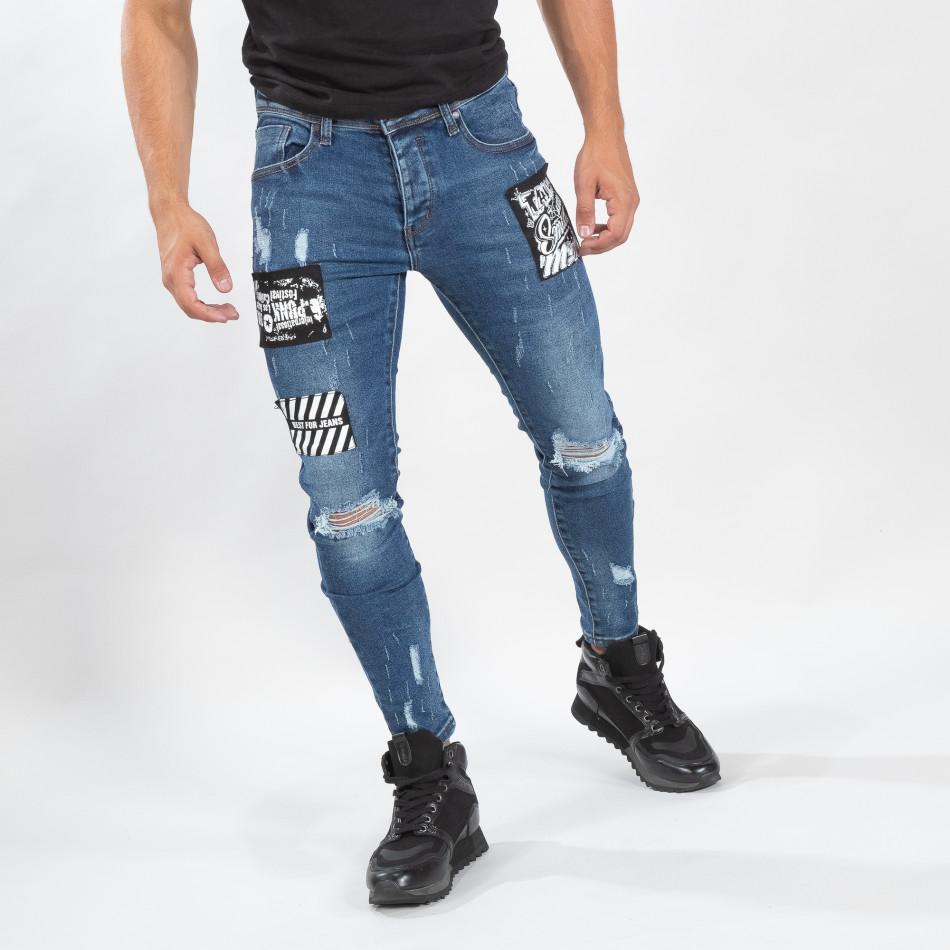 Сини мъжки прокъсани дънки с кръпки it170819-48