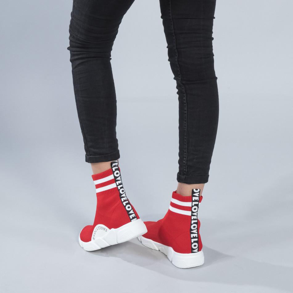 Червени дамски маратонки тип чорап с акценти it250119-58