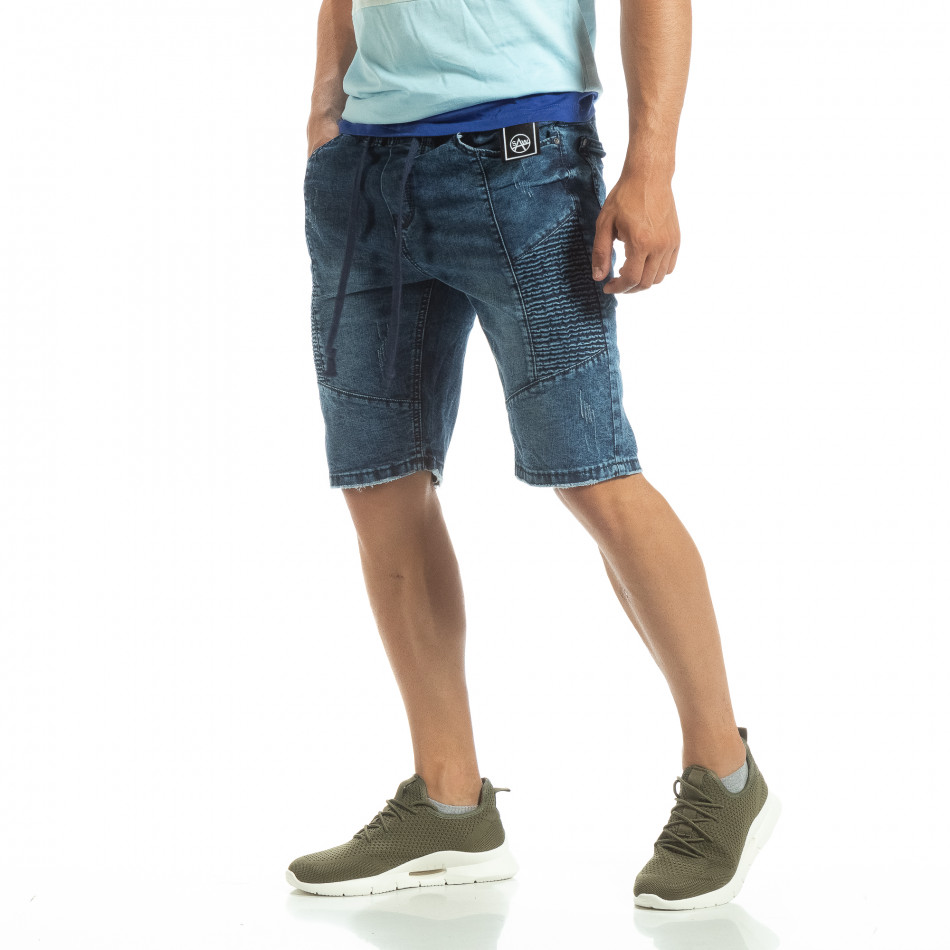Мъжки дънкови бермуди рокерски стил it120619-8