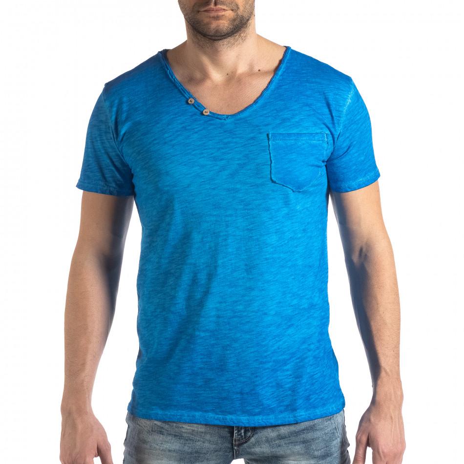 Мъжка тениска Vintage стил в ярко синьо it210319-80