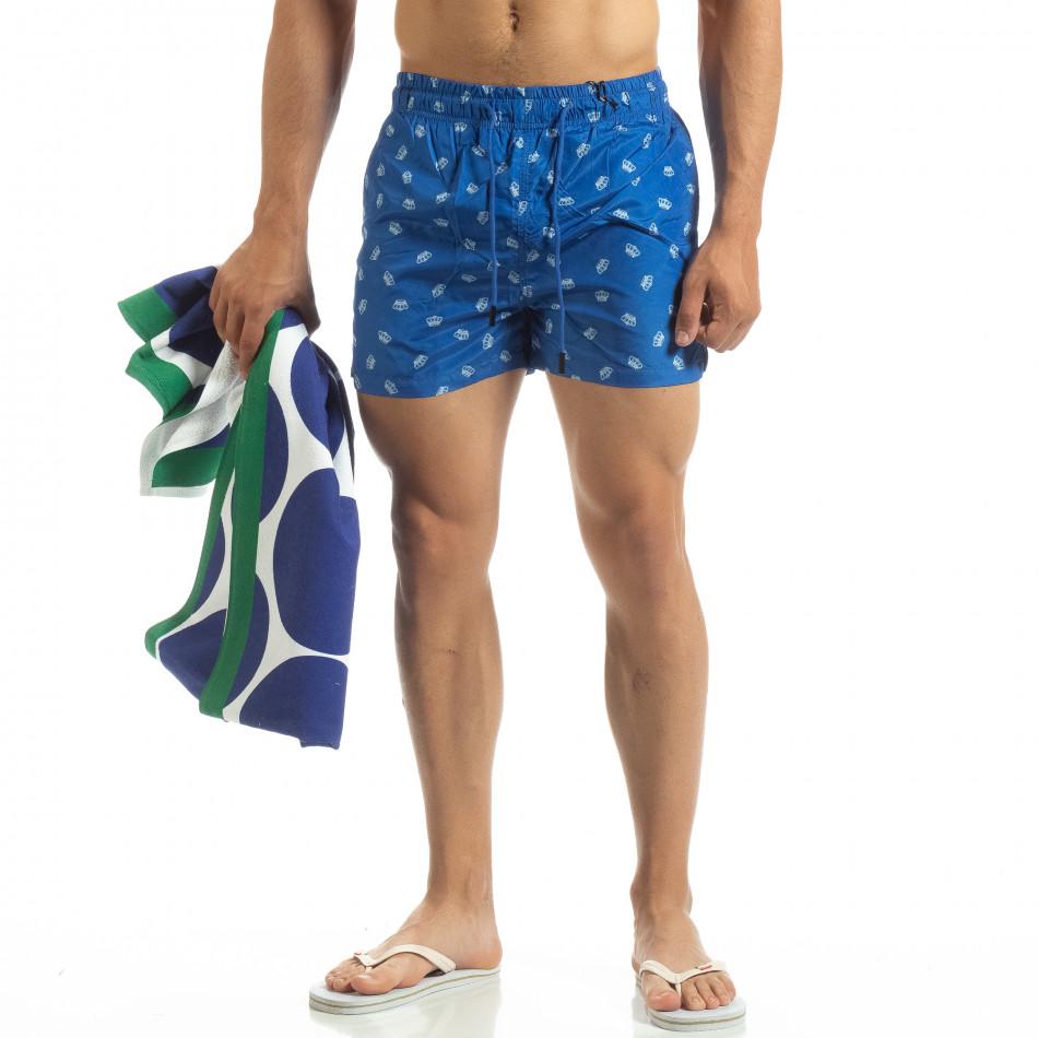 Мъжки бански Crown мотив в синьо it120619-49