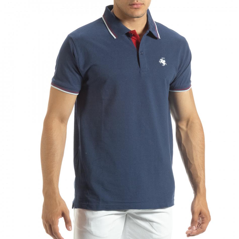Мъжка тениска polo shirt в синьо it120619-25