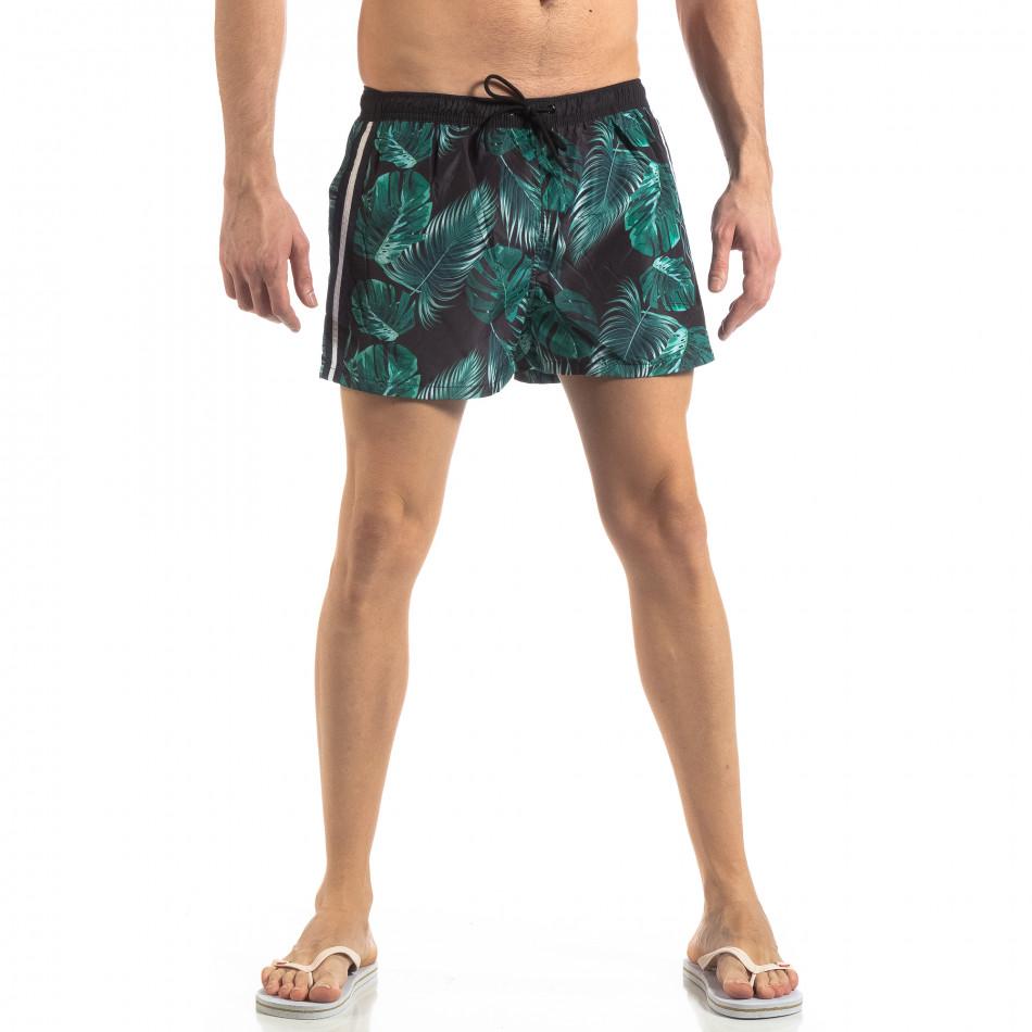 Зелен мъжки флорален бански с кантове it250319-15