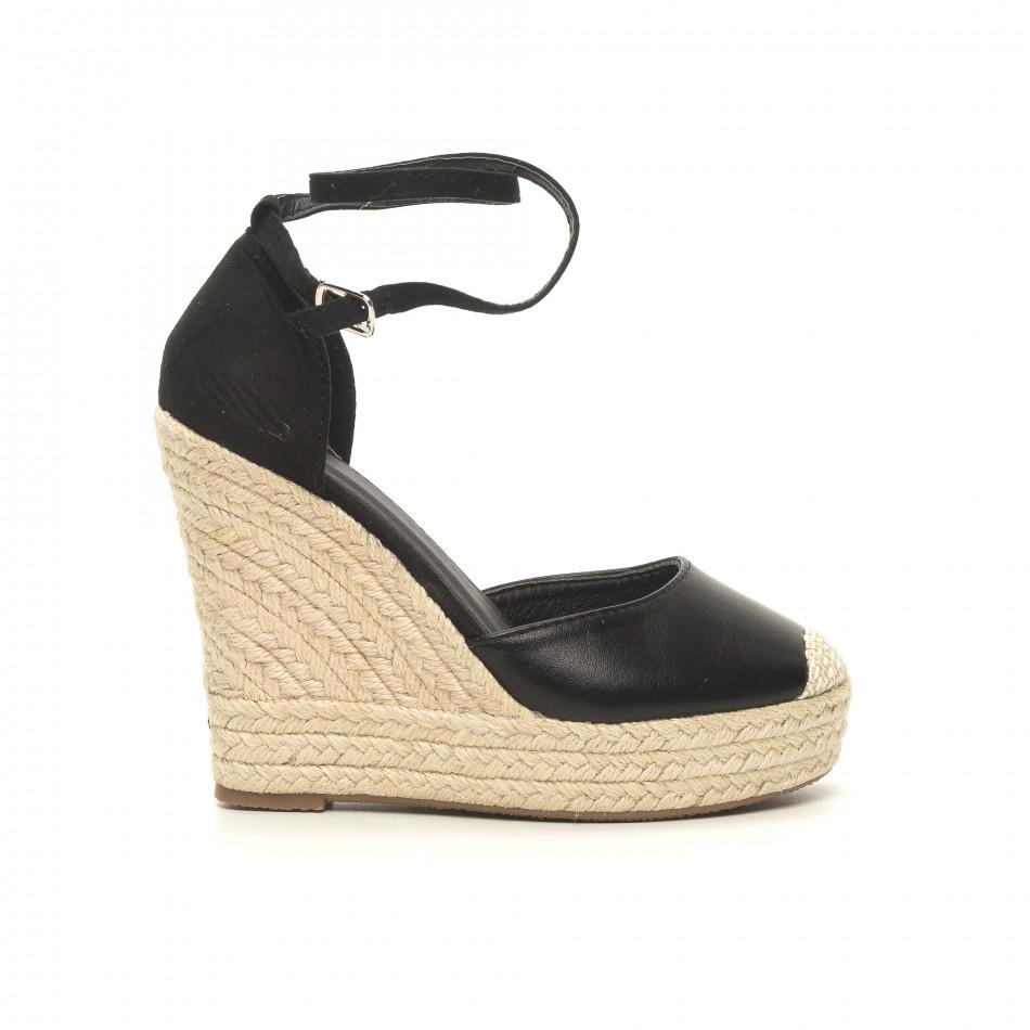 Черни дамски сандали с връзки висока платформа it050619-34