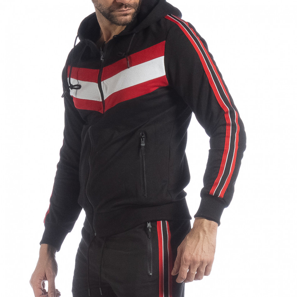Черен мъжки суичър с качулка и кантове it040219-96