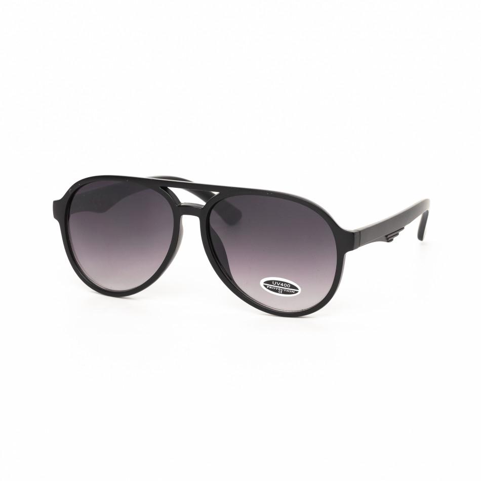 Опушени пилотски очила масивна черна рамка it030519-34