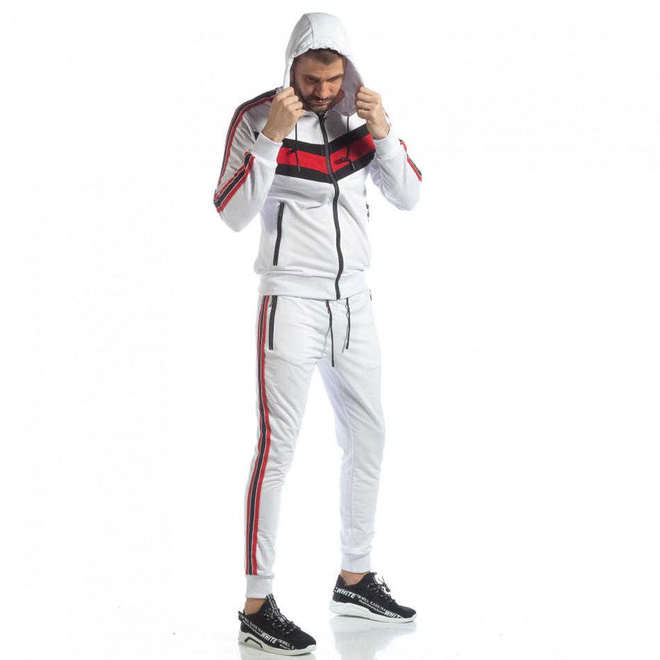 Бял мъжки спортен комплект с качулка и кантове ss-NB-10A-NB-10B
