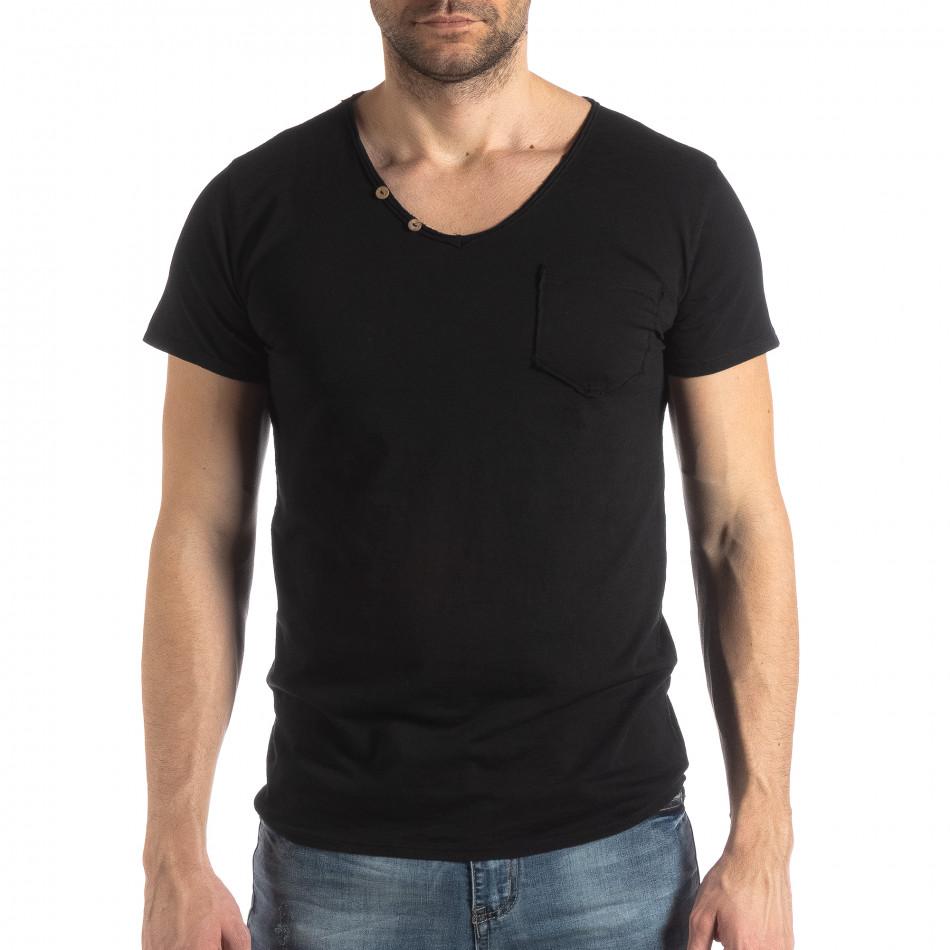 Мъжка тениска Vintage стил в черно it210319-78