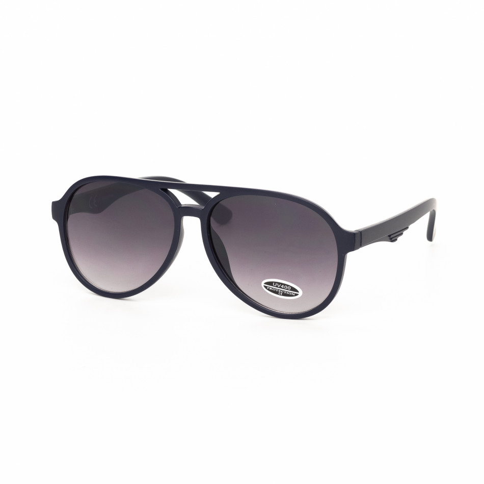 Опушени пилотски очила масивна синя рамка it030519-35