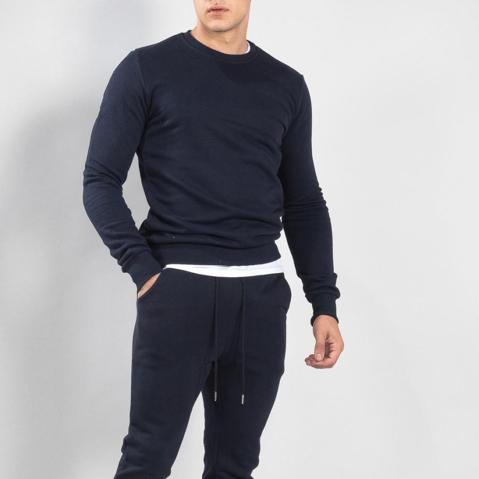 Basic мъжка памучна блуза в тъмно синьо it150419-47