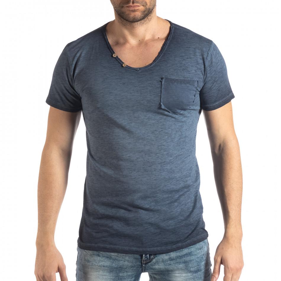 Мъжка тениска Vintage стил в синьо it210319-79