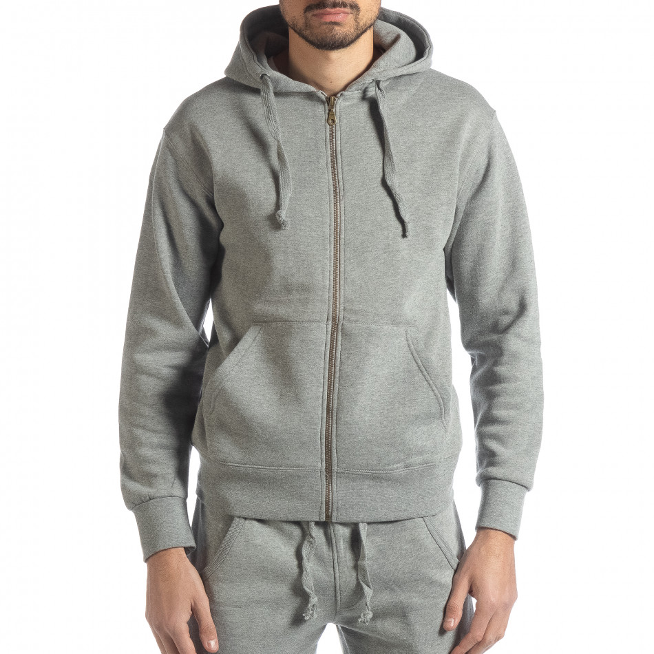 Basic мъжки памучен суичър в сиво it051218-40