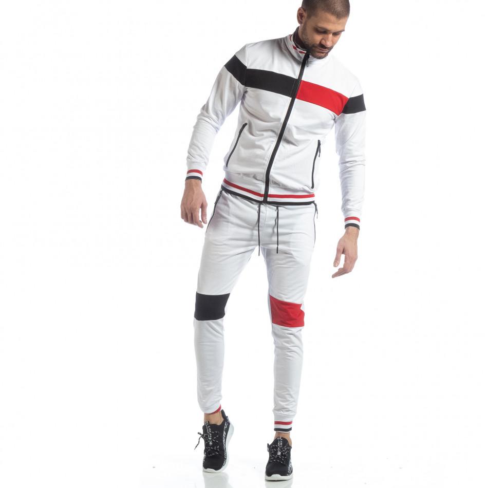 Мъжки бял спортен комплект с права яка ss-NB-13A-NB-13B